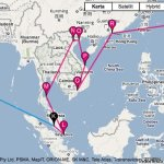 The Travelmap Wordpress plugin showing my winter in Asia