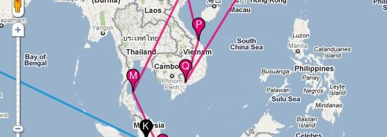The Travelmap Wordpress plugin in use