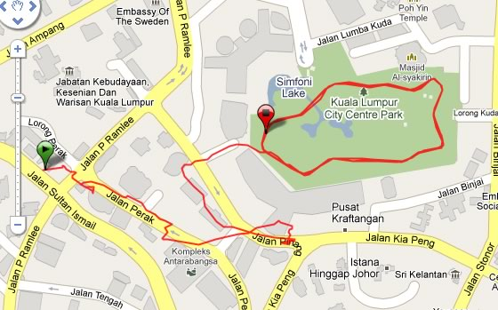 map Running in the Kuala Lumpur City Center Park