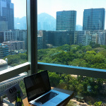 My usual spot at Cafe Habitu 8 stories above Kowloon Park